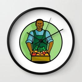 African American Green Grocer Greengrocer Mascot Wall Clock