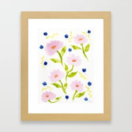 Pink Floral Watercolor Pattern Framed Art Print