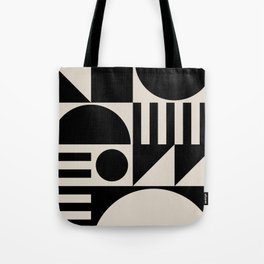 Mid Century Modern Geometric Abstract 936 Black and Linen White Tote Bag