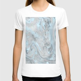 Ice Blue and Gray Marble T-shirt