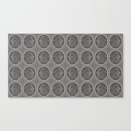 Grisaille Charcoal Grey Neo-Classical Ovals Canvas Print