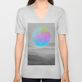 Worlds That Never Were (Geodesic Moon) Unisex V-Neck
