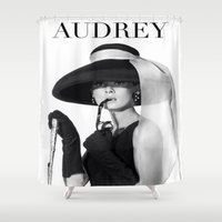audrey Shower Curtains featuring AUDREY by REASONandRHYME