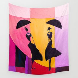 LADIES UNDER UMBRELLAS Wall Tapestry