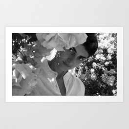 Girl and flowers b&w Art Print