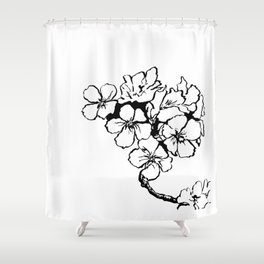 Cherry Blossom Ink Drawing  Shower Curtain