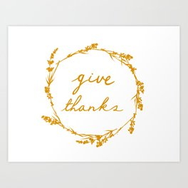 Give thanks crown lettering design Art Print