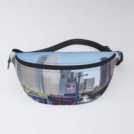Skyline of Central Los Angeles California showing the contrast between old (including a tattoo parlo Fanny Pack