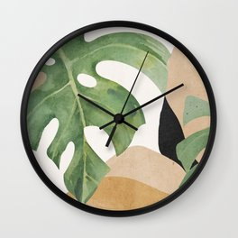 Abstract Art Tropical Leaves 3 Wall Clock