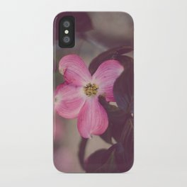 Pink Dogwood and Leaves iPhone Case