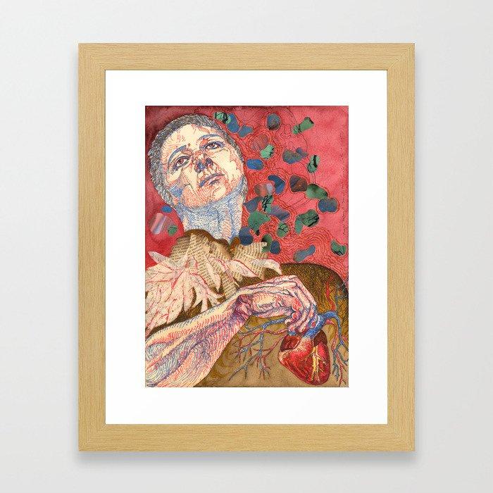 Magical Anatomy:  Joan With Heart Framed Art Print
