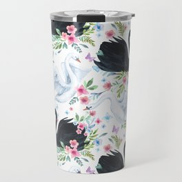 Beautiful white and black swans with flowers seamless pattern Travel Mug
