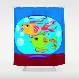 Two Fish in a Fish Bowl Shower Curtain