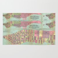political Area & Throw Rugs featuring Vintage NYC Political Ward Map (1870) by BravuraMedia