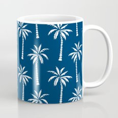 Palm trees navy tropical minimal ocean seaside socal beach life pattern print Mug