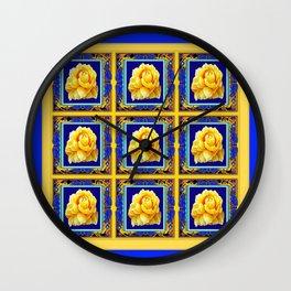 BLUE FRAMED YELLOW YELLOW GARDEN FLOWERS ART Wall Clock