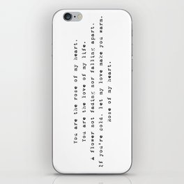 You are the rose of my heart - Lyrics collection iPhone Skin