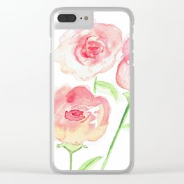 3 Pink Roses Clear iPhone Case