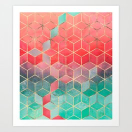 Rose And Turquoise Cubes Art Print