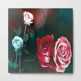 Roses Digital Art By Annie Zeno Metal Print