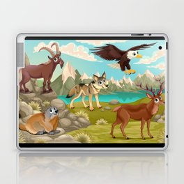 Funny animals in a mountain landscape Laptop & iPad Skin