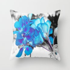 Turquoise Flowers Throw Pillow