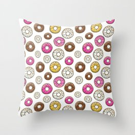 Donut Pattern - White Throw Pillow