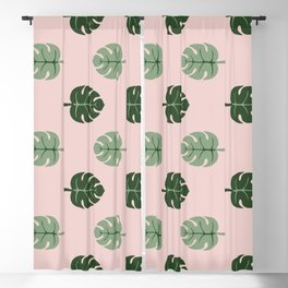 Tropical leaves Monstera deliciosa green and pink #monstera #tropical #leaves #floral #homedecor Blackout Curtain