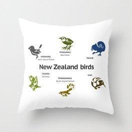 New Zealand Birds Throw Pillow