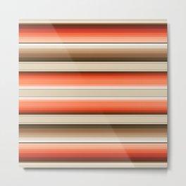 Navajo White, Burnt Orange and Brown Southwest Serape Blanket Stripes Metal Print
