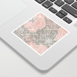 Floral Dahlias, Blush Pink, Gray, White Sticker