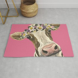 Cute Cow Art, Colorful Flower Crown Cow Art Rug