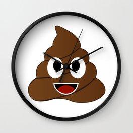 Humor shit poop emoji funny and kawaii character Wall Clock