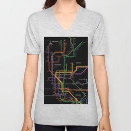 New York City subway map Unisex V-Neck