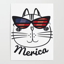 Merica Memorial Day Cat Funny American Flag Poster