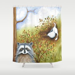 Silly Dog  Jack Russell Terrier, Raccoon, Landscape Painting, Original Art Shower Curtain