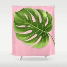 Monstera Leaf Greenery Tropical Pink Aloha Modern Décor Shower Curtain