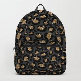Black Gold Leopard Print Pattern Backpack
