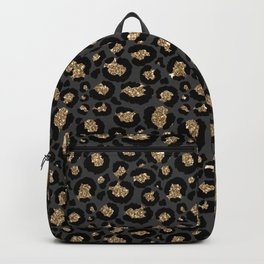 Black Gold Leopard Print Pattern Backpack