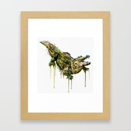 Alligator Watercolor Painting Framed Art Print