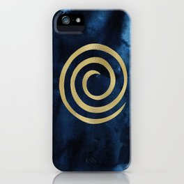 Infinity Navy Blue And Gold Abstract Modern Art Painting iPhone Case