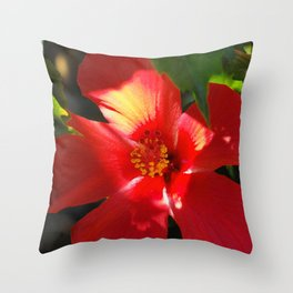 Red Hibiscus in Sunlight Throw Pillow