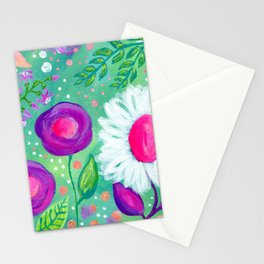 White Flowers, Purple Flowers, Floral Painting for Girl, Nursery Decor, Green, Blue, Coral Art Stationery Cards