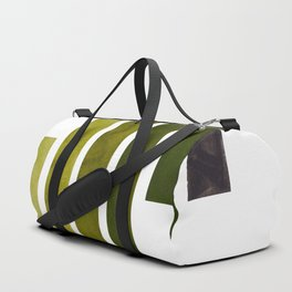 Olive Green Minimalist Mid Century Modern Inca Watercolor Stripes Staggered Symmetrical Pattern Duffle Bag