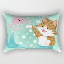Bubbly Purrmaid Rectangular Pillow