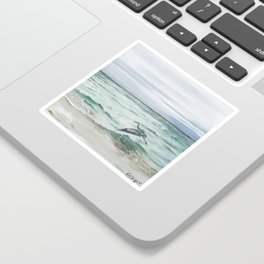 Anna Maria Island Florida Seascape with Heron Sticker