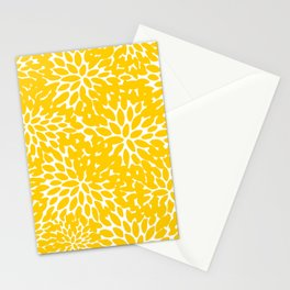 Yellow Floral Blooms, Bright Summer Pattern Stationery Cards