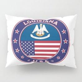 Louisiana, Louisiana t-shirt, Louisiana sticker, circle, Louisiana flag, white bg Pillow Sham