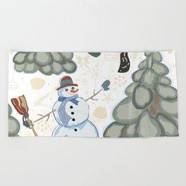 Winter Snowman Beach Towel