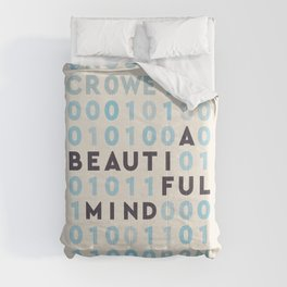 A Beautiful Mind, Russell Crowe, Ron Howard, John Nash, Jennifer Connelly, alternative movie poster, binary numbers Comforters